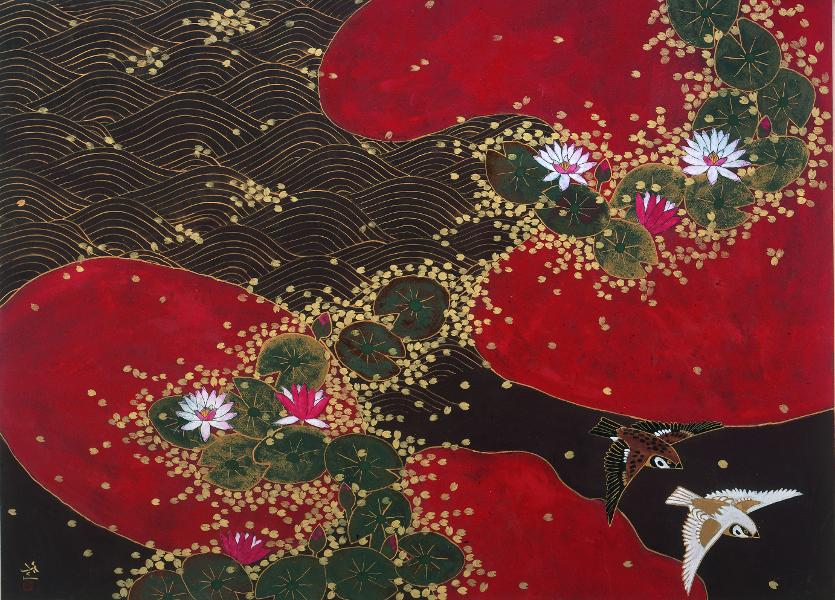 Hiramatsu, le bassin aux nymphéas. Hommage à Monet. : Hiramatsu Reiji, Motifs de nymphéas - Divertissement, 2010, Nihonga, 72,7 x 100 cm, Musée des Impressionnismes Giverny, © Hiramatsu Reiji