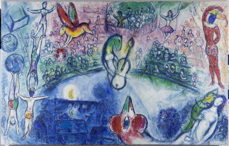Chagall et la musique : Marc Chagall, Commedia dell'Arte, 1958 Huile sur toile Adolf und Luisa Haeuser Stiftung, Francfort-sur-Main ©ADAGP, Paris, 2015 - CHAGALL ®
