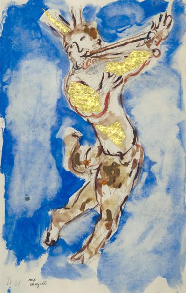 Chagall et la musique : Marc Chagall, Projet de costume pour Daphnis et Chloé : Le Dieu Pan, 1958. Gouache, aquarelle et crayon sur papier Collection particulière ©ADAGP, Paris, 2015 - CHAGALL ®