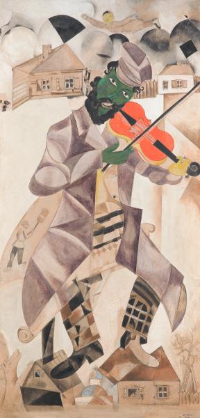 Chagall et la musique : Marc Chagall, La Musique, premier panneau pour le Théâtre d'art juif, 1920 Tempera, gouache, argile blanche sur toile. Galerie nationale Tretiakov, Moscou ©ADAGP, Paris, 2015 - CHAGALL ®
