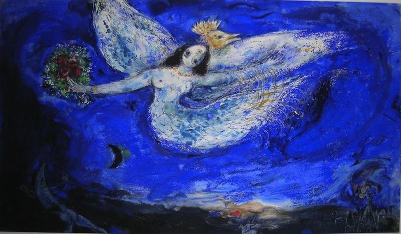 Marc Chagall – L'épaisseur des rêves : Marc Chagall L'Oiseau de feu, maquette pour le rideau de scène de L'Oiseau de feu de Stravinsky, 1945 Gouache sur papier, 37,5 x 62 cm Collection particulière