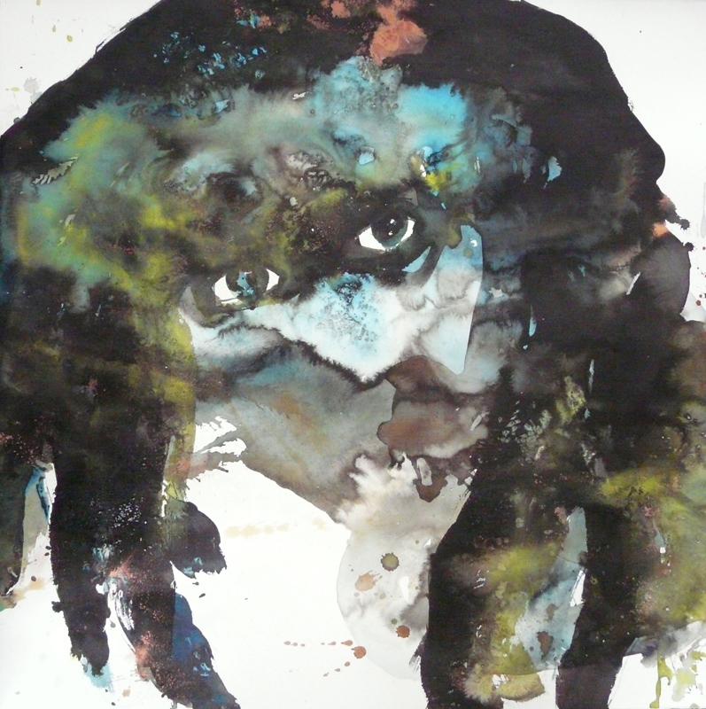 Cosmogonies lunatiques : Chloé Julien, Tremblement entre des vagues successives, aquarelle et encre sur papier