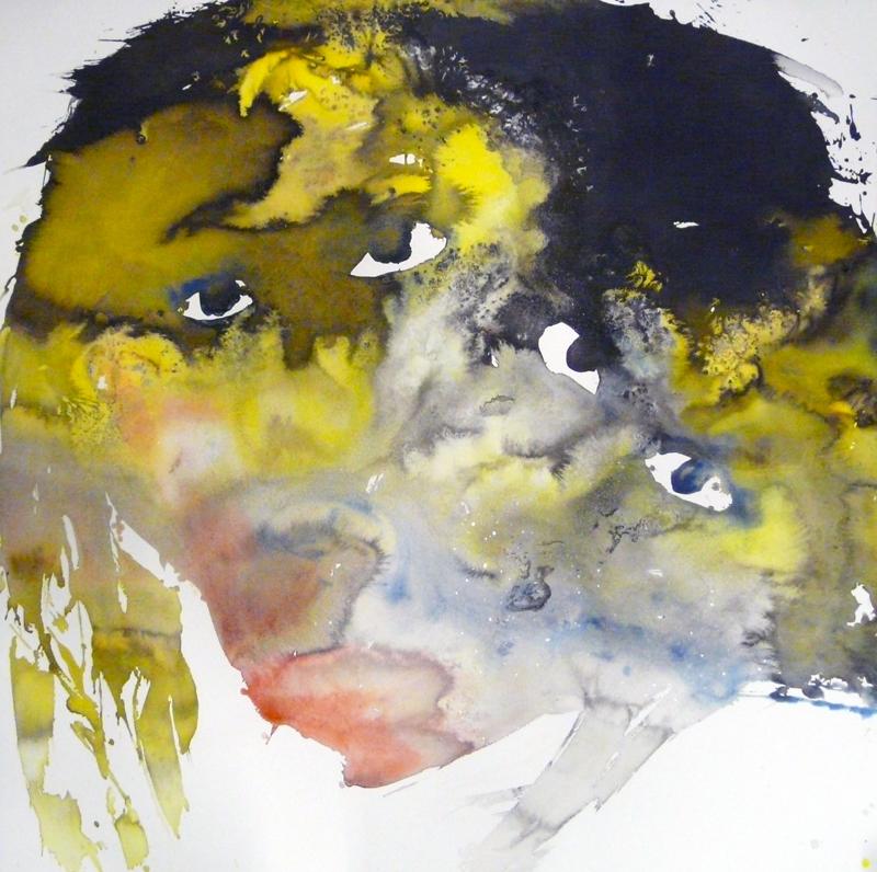 Cosmogonies lunatiques : Chloé Julien, Regard entre abysse et voie lactée, encre et sel sur papier, 2011