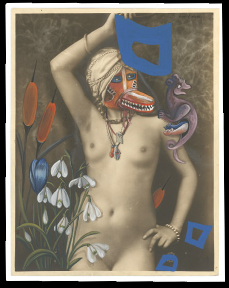 Coco Fronsac & King : Coco Fronsac. Carrés bleus Gouache sur photographie ancienne 22.6 x 17.7 cm (Honan Katsina. Masque Hopi de Honan. Kachina - blaireau. Arizona USA
