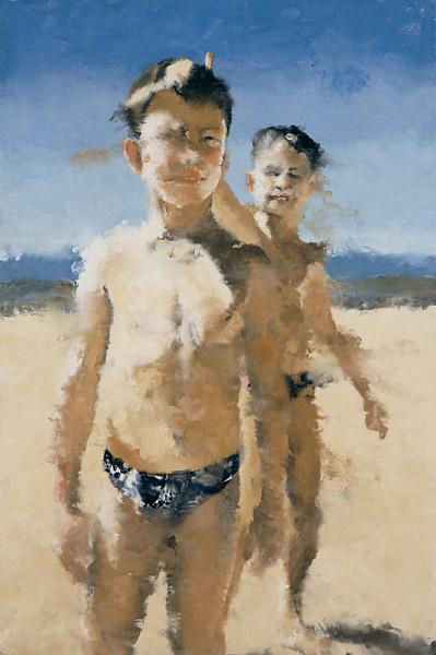 Philippe Cognée : Guillaume et Thomas. 1996, 180 x 120 cm. Collection de l'artiste.