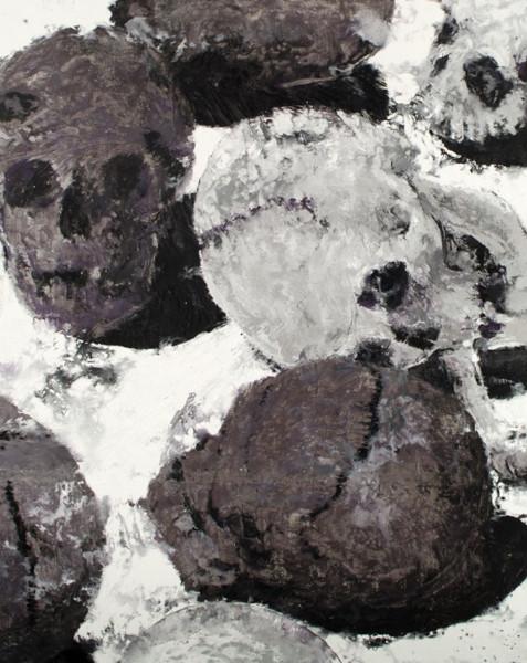 Viens, la mort, on va danser : Philippe Cognée. Vanité argent 4. 2006, peinture à la cire sur toile, 162 x 130 cm. Courtesy Galerie Daniel Templon, Paris