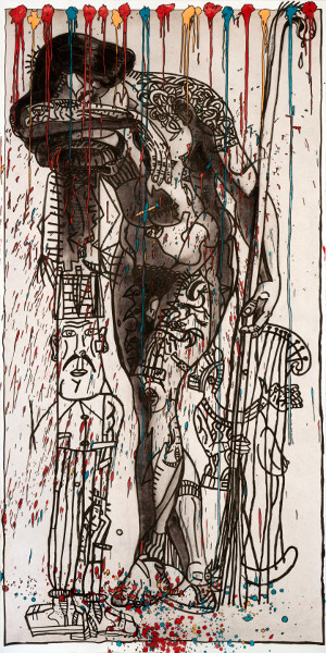 Robert Combas - La Mélancolie à ressorts : Robert Combas. Le penseur fatigueur. Technique mixte. 2014. 300x149 cm. © Robert Combas. Photographie : Harald Gottschalk.