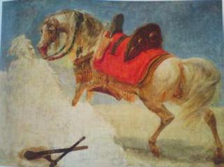 Delacroix - Objets dans la peinture, souvenir du Maroc : Jean Antoine Gros, Etude de cheval arabe harnaché entre 1800 et 1810. Département des Peintures, musée du Louvre.