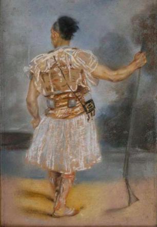 Delacroix - Objets dans la peinture, souvenir du Maroc : Jules Robert Auguste. Soldat oriental. Département des Arts graphiques, musée du Louvre.