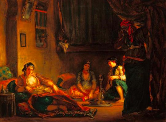 Delacroix - Objets dans la peinture, souvenir du Maroc : Eugène Delacroix. Femmes d'Alger dans leur intérieur. 1847-1849. Musée Fabre, Montpellier.