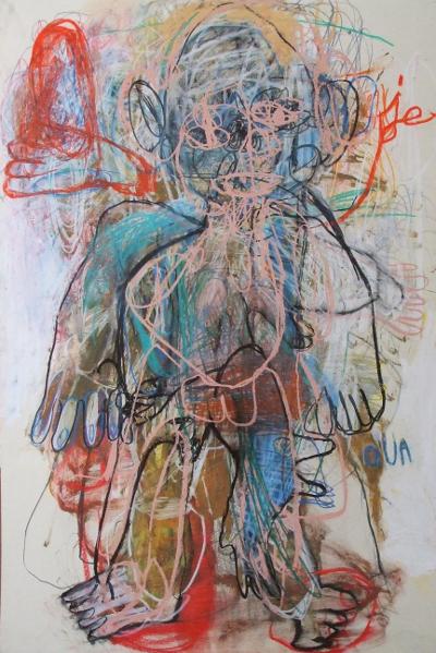 Catharsis : Caroline Demangel. Jeoua. 2012, technique mixte sur papier, 80 x 120 cm.