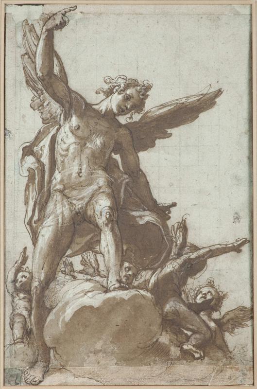 L'œil et la passion. Dessins italiens de la Renaissance dans les collections privées françaises : Federico Zuccaro,  Un ange sur une nuée, 0,306 x 198