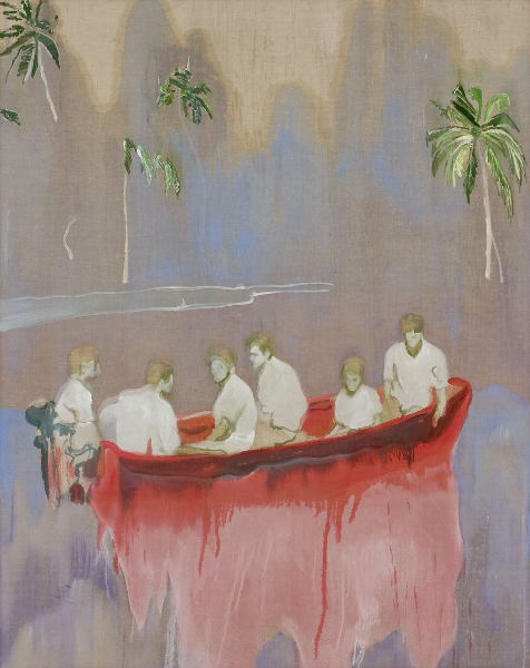 Peter Doig : Figures in Red Boat (Imaginary Boys) 2005-2007 Huile sur toile 250 x 200 cm Collection privée, Courtesy Michael Werner Gallery, New York and London COPYRIGHT