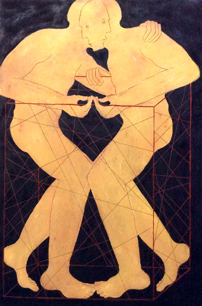 D'orient et d'occident ou l'esthétique de l'entre-deux : Mahi Binebine Sans titre 195 x 130 cm cire et pigments sur bois 2015