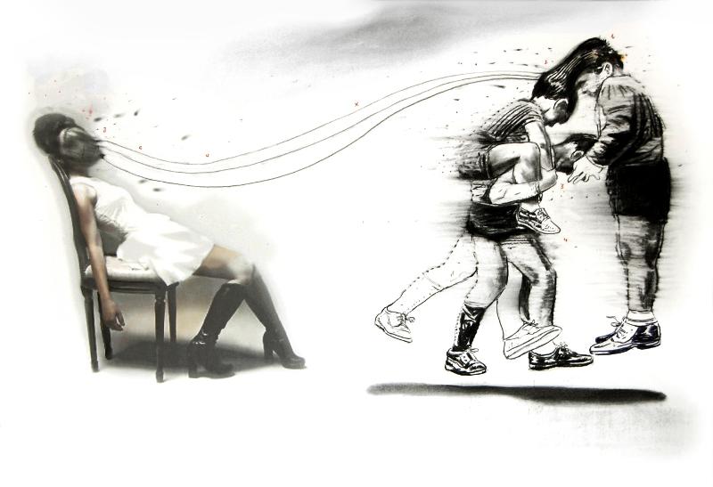 D'orient et d'occident ou l'esthétique de l'entre-deux : Mohamed Leklet Jeux- technique mixte sur papier 75x110