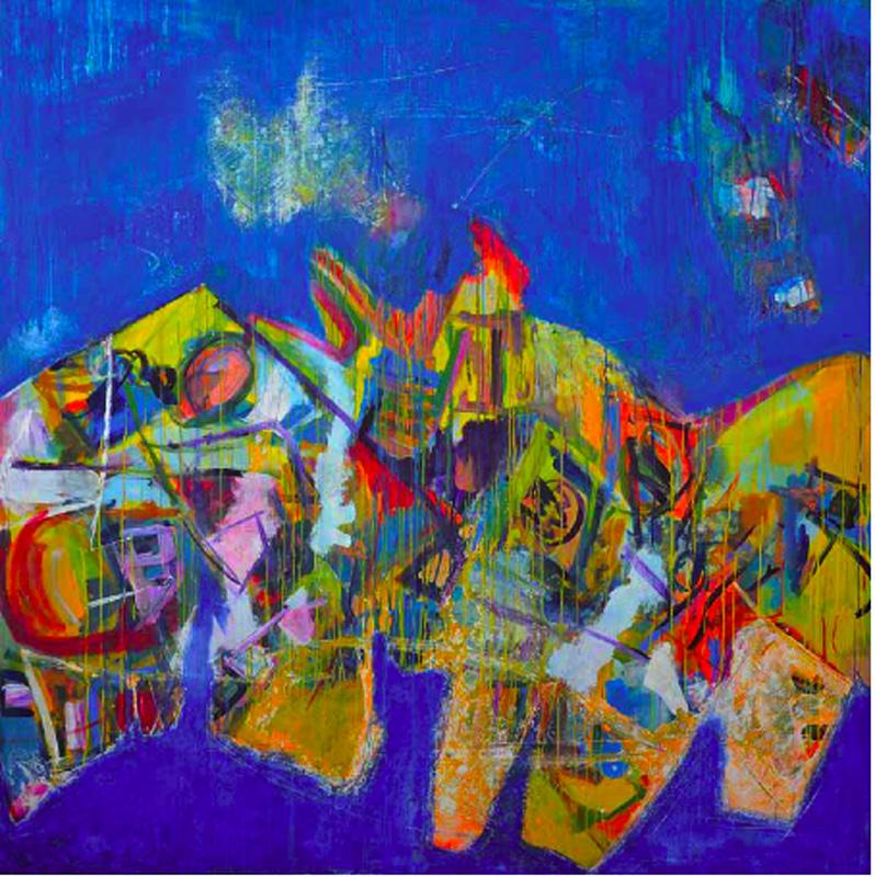 Jeunes plasticiens de Guadeloupe : Hébert Edau, Grand paysages N°IV, 200 cm x 200 cm