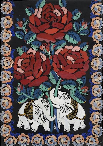Raoul Dufy. Le Bonheur de vivre : Raoul Dufy, Eléphants et fleurs. Projet de  tissu pour Bianchini-Férier. Gouache, 70 x 48  cm. Collection particulière © Photo Jean- Louis Losi