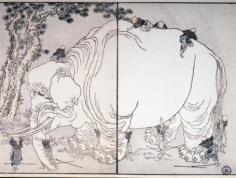 La Manga, les caprices d'Hokusai, 1814-1878 : Katsushika Hokusai (Edo, 1760 - Asakusa, 1849) Onze aveugles palpent un éléphant La Manga, vol.8, 1818-1819 Gravure sur bois en couleurs Coll. Musée de Gravelines