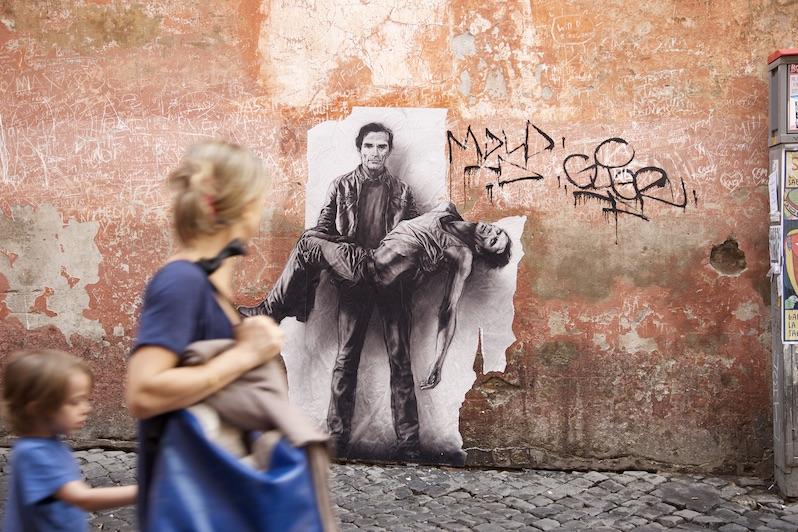Ernest Pignon-Ernest. Exposition inaugurale de l'Espace Art Absolument : Pier Paolo Pasolini : affiche de Ernest Pignon à Rome, 2015.