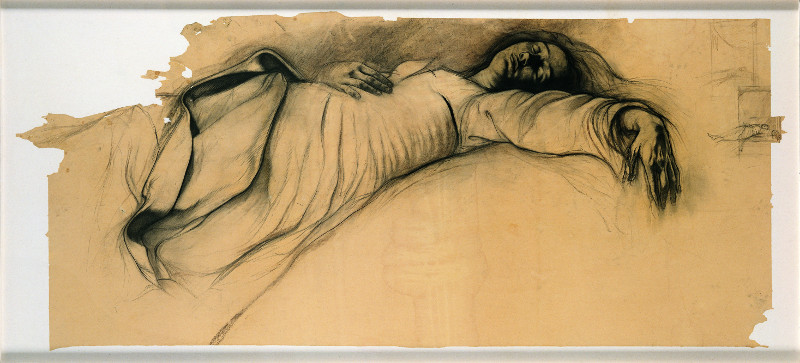 Ernest Pignon-Ernest : Etude pour la Mort de la Vierge, dessin à la pierre noire, 1990