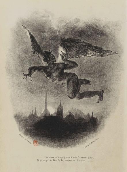 L'estampe visionnaire, de Goya à Redon : Eugène Delacroix Faust : Méphistophélès dans les airs, 1827 Lithographie © BnF
