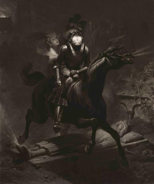L'estampe visionnaire, de Goya à Redon : Eugène Jazet d'après Horace Vernet, Lenore. Ballade allemande de Bürger, 1840 Aquatinte © BnF