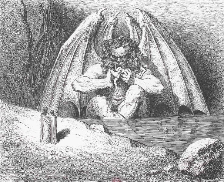 L'estampe visionnaire, de Goya à Redon : Gustave Doré L'Enfer, [Lucifer], Tiré à part inédit], 1861 Gravure sur bois © BnF 12.