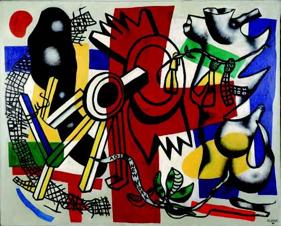 Exils : Fernand Léger. Adieu New-York. 1946, huile sur toile, 130 x 162 cm. Centre Pompidou, musée national d'art moderne / Centre de la création industrielle, Paris.