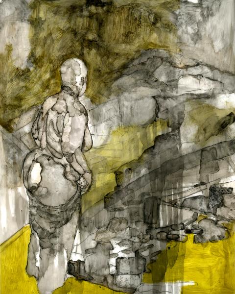 Florine Demosthene, Get Azzmatized! : Florine Demosthene Assed Out Again Encre, fusain et craie grasse à l'huile sur polypropylène 36 x 28 cm 2011 Ph: Florine Demosthene