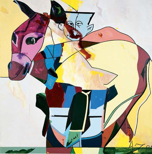 Hervé Télémaque : Hervé Télémaque Et si c'était ainsi n° 2 (Âne et Sarko/Plantu) 2003, Acrylique sur toile, 130 x 130 cm, Collection particulière
