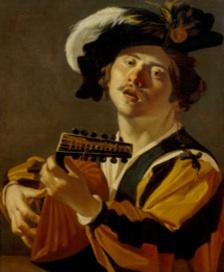 Frans Hals – Sous le regard de Rembrandt, Rubens et Titien : Dirck van Baburen – Chanteur s'accompagnant au luth, 1622, Centraal Museum, Utrecht