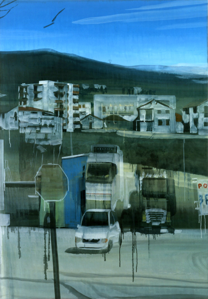 Frontalité, approches du paysage : Marc Desgrandchamps. Sans titre. huile sur toile. 200x140cm. 2008. © Galerie Zürcher