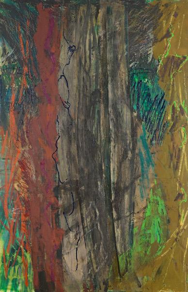 Frontalité, approches du paysage : Per Kirkeby. Sans Titre. huile sur toile. 200x130cm. 2008. © Galerie Vidal Saint Phalle.