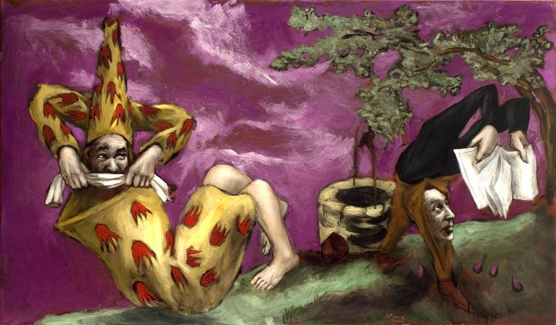 Gérard Garouste. En chemin : Gérard Garouste, Le Puits, 2007, huile sur toile, 114 x 195 cm. Collection particulière. © Courtesy Galerie Daniel Templon, Paris. Photo Bertrand Huet/Tutti. © Adagp Paris 2015.