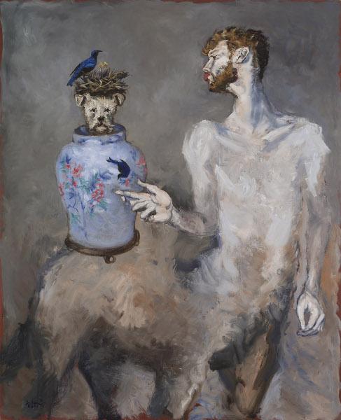 Gérard Garouste - Contes ineffables : Le Centaure et le nid d'oiseaux, huile sur toile, 2013, 194,5 x 160 cm