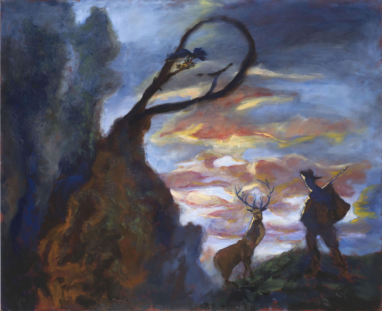 Gérard Garouste - Contes ineffables : St-Hubert et le nid d'oiseaux, huile sur toile, 2013, 160 x 195 cm