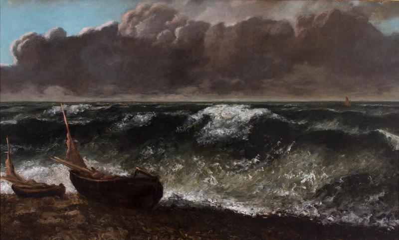 Retours de mer : Gustave Courbet, La Vague, 1869 huile sur toile 71 x 116 cm. Le Havre, MuMa, musée d'Art moderne André Malraux Copyright Charles Maslard