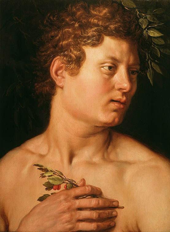 Quand Eve retrouve Adam, deux pendants de Goltzius : Adam Hendrick Goltzius (Müklbracht, près de Venlo, 1558 - Haarlem, 1617), Adam, Huile sur bois, 1613 Hartford, Wadsworth Atheneum Museum . Photo: D.R.