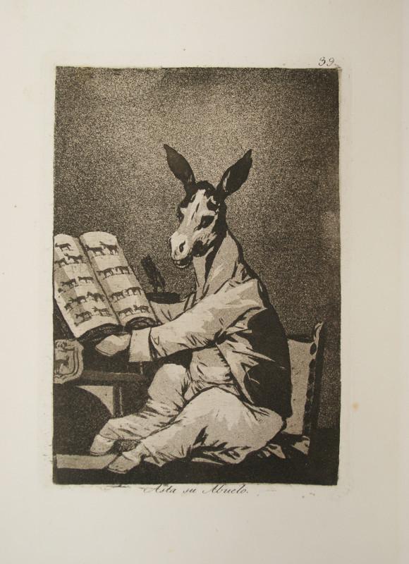 De Goya à Delacroix – Les relations artistiques de la famille Guillemardet :   Une planche des Caprices de Goya : F.J. Goya – Les Caprices, planche 39 Asta su abuelo   © musée Goya, musée d'Art hispanique, Castres/ P. Bru