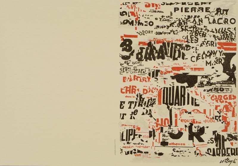 Gravure contemporaine à château Gaillard : Jacques Villeglé, sans titre, lithographie collection musée de Vannes, cliché Musée de Vannes
