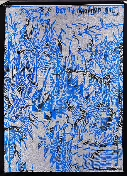 Philippe Guesdon-Temps Tressés : 25e Nef, Des artisans de leur infortune, acrylique et poudre de me?tal sur lin fripe?, 236 x 165 cm © G.Crochez © ADAGP, Paris 2014