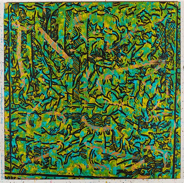 Philippe Guesdon-Temps Tressés : Calendrier des bergers (suite) VE, acrylique et poudre de me?tal sur lin tendu, 100 x 100 cm, 2013 © G.Crochez © ADAGP, Paris 2014