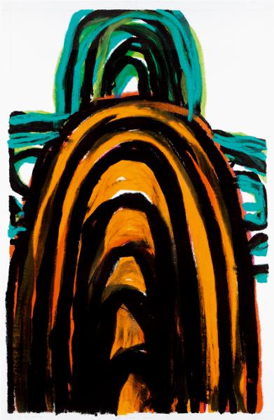 Guy Le Meaux – Œuvres récentes : Sans titre. 2012, graphite, encre, pastel à l'huile sur papier, 190 x 123 cm. Courtesy l'artiste et galerie Bruno Mory, Besanceuil.