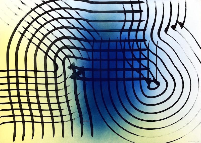 Hans Hartung, La fabrique du geste : Hans Hartung, P1973-B71, 1973, Acrylique sur carton baryte?, 74.5 x 104.5 cm, Fondation Hartung-Bergman, Antibes © ADAGP, Paris, 2019 Photo : Fondation Hartung-Bergman