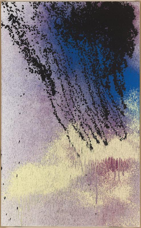 Hans Hartung, La fabrique du geste : Hans Hartung, T1989-K36, 1989, Acrylique au pistolet sur toile, 162 x 100 cm, © Muse?e d'Art Moderne de Paris / Roger-Viollet © ADAGP, Paris, 2019 Photo: Julien Vidal / Parisienne de Photographie