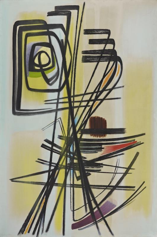 Hans Hartung, La fabrique du geste :  Hans Hartung, T1947-12, 1947, Huile sur toile, 146 x 97 cm, Fondation Gandur pour l'Art, Genève © ADAGP, Paris, 2019