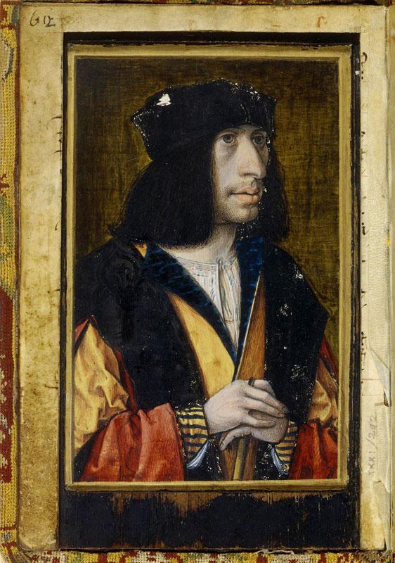 France 1500, entre Moyen Âge et Renaissance : Portait d'homme (Portrait présumé de Charles VIII) Jean Perréal 1490-1495. © BnF