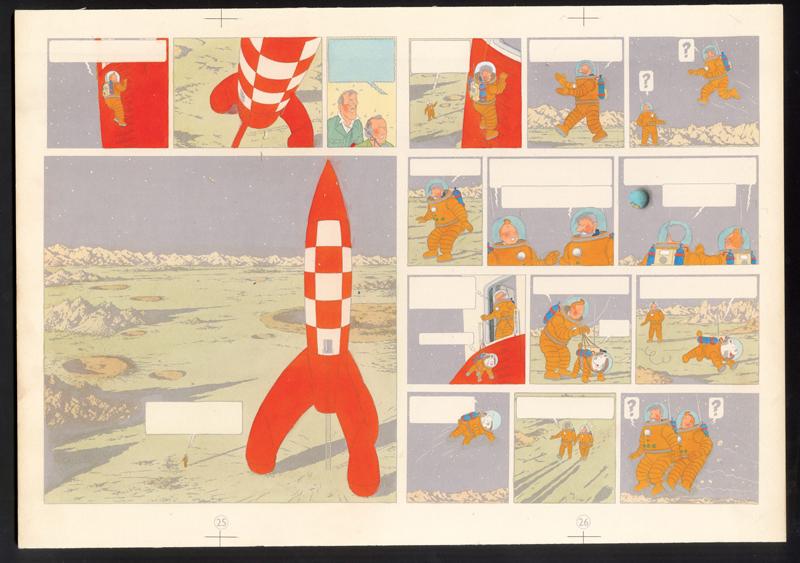 Hergé au Grand Palais : Hergé Les Aventures de Tintin On a marché sur la Lune 1954 Bleu de coloriage des planches 25 et 26 aquarelle et gouache sur épreuve imprimée 28,7 x 41 cm Collection Studios Hergé © Hergé/Moulinsart 2016