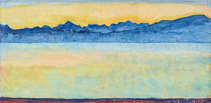 Ferdinand Hodler : Genfer See mit Mont Blanc am frühen Morgen, 1918 Le lac Léman et le Mont Blanc à l'aube Huile sur toile, 60 x 126 cm Collection privée Photo: Hulya Kolabas