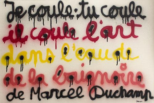 Street Art Generations : BEN- JE COULE TU COULE, 2011. Bombage sur carton. 80 x 120 cm. Courtesy de la Galerie